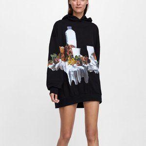 Zara Oversize Hoodie Still Life Print Size S